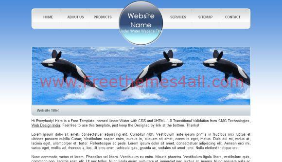 Free Web Ocean Orca Nature Blue HTML Template
