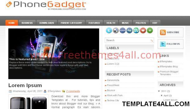 Gadgets Technology Magazine Blogger Template