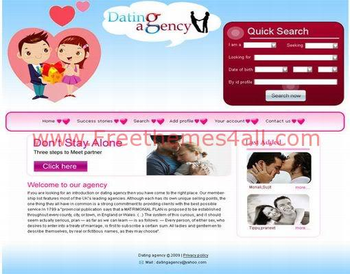 Free CSS Dating Love Agency Web2.0 Template