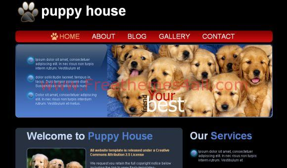 Free Puppy House Black Website Template