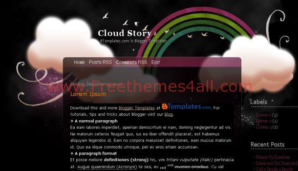 Free Clouds Story Black Blogger Template