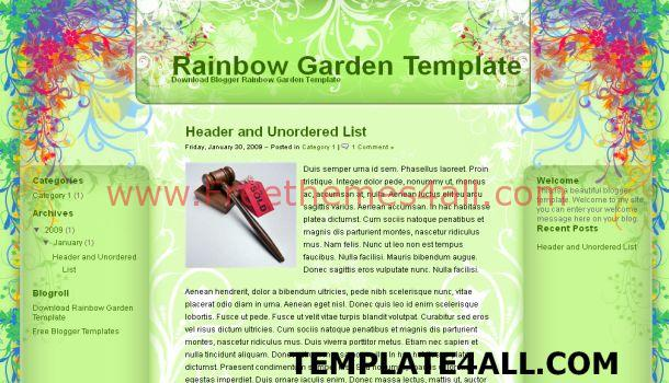 Free Floral Grunge Green Blogger Template