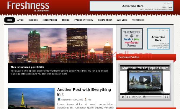 Free Fresh Red Magazine WordPress Theme