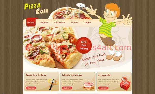 Free Brown Restaurant Pizza Website Template