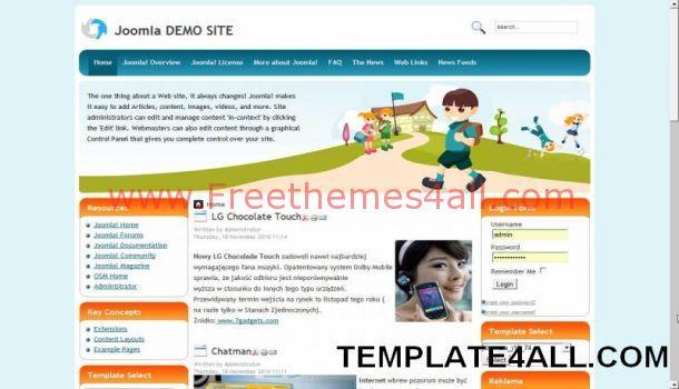 Kids School Education Joomla Template Freethemes4all