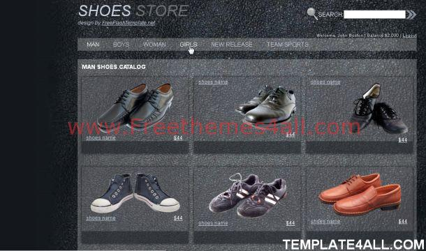 Free Grunge Black Shoes Website Template