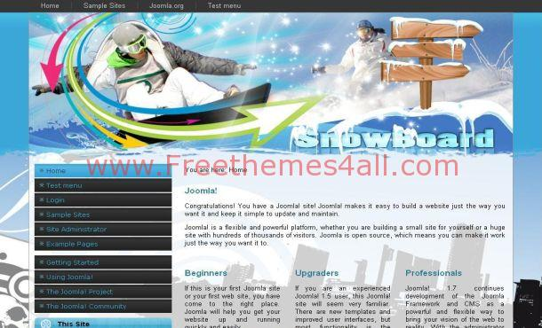 Blue Snow Sports Joomla Theme