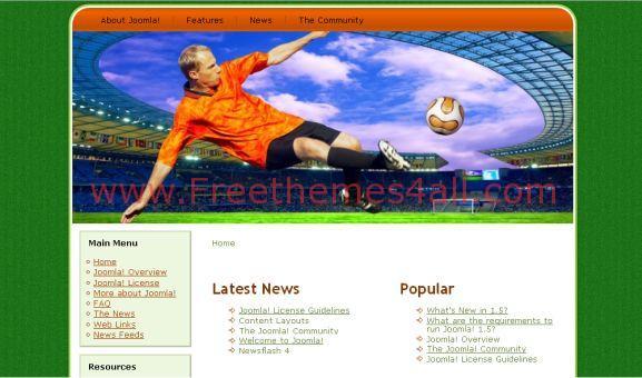 White Free Green Soccer Joomla Template
