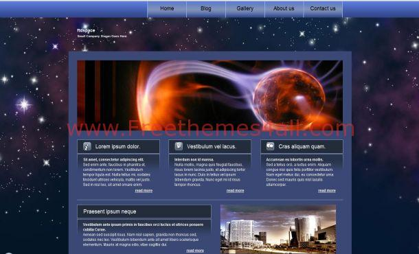 Free Stars Blue Black Website Template