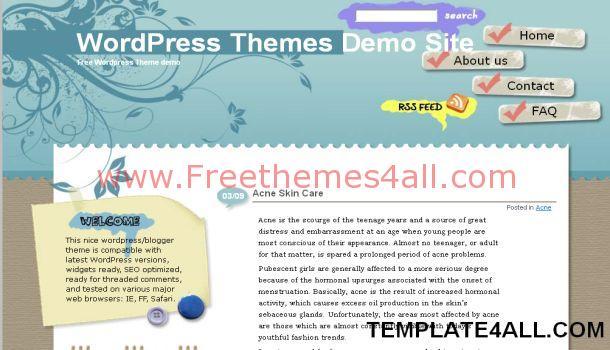 Brown Blue Grunge Floral WordPress Theme
