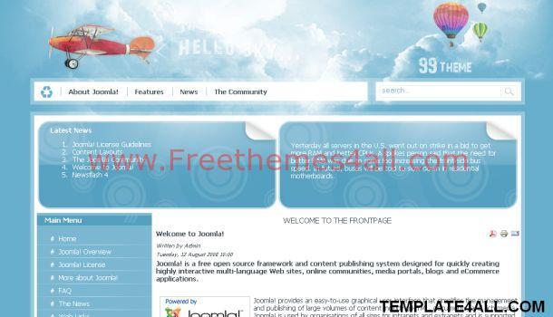 Sky Travel Blue Joomla Theme Template