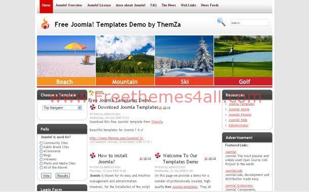 Free Travel Trip Blue Gray Joomla Theme Template
