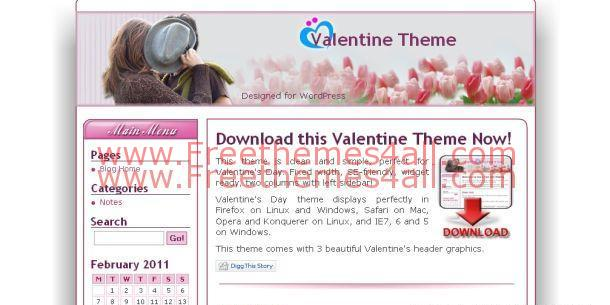 Free Pink Love Valentine Wordpress Theme Download