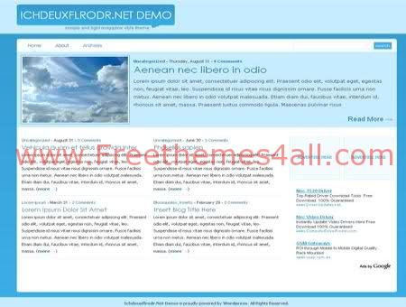 Free WordPress Sky Bleu Web2.0 Theme Template