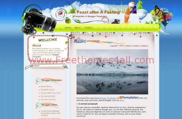 Free Blogger Travel Balloon Blue Theme Template