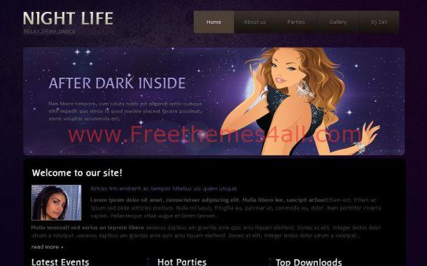 Free Black Purple Vector CSS Website Template