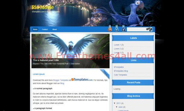 Black Blue Movies Blogger Layout Template