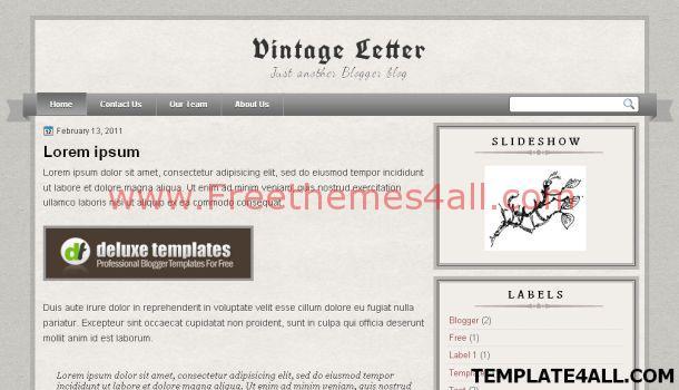 Free Old Letter Vintage Blogger Template