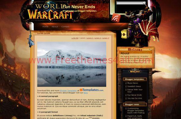Games Warcraft Blogger Theme