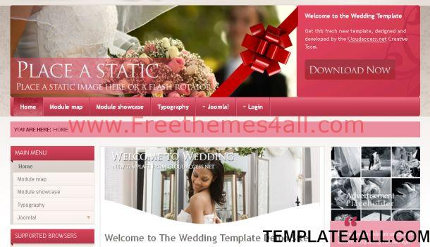 Free Wedding Sexy Pink Joomla Template