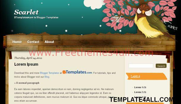 Free Black Wooden Bird Blogger Template