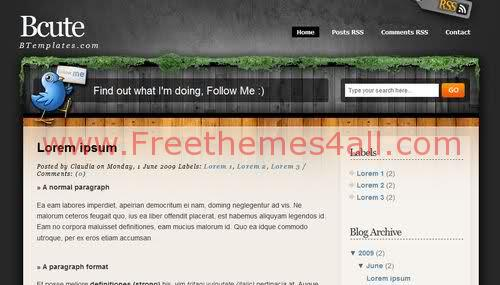 Free Blogger Brown Garden Bird Web2.0 Template