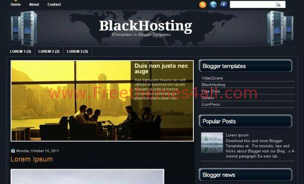 Dark Blue Hosting Blogger Template