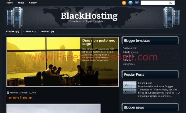 Free Dark Blue Hosting Blogger Template Download