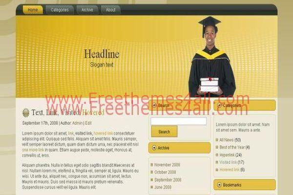 Free Brown Yellow Education Wordpress Theme