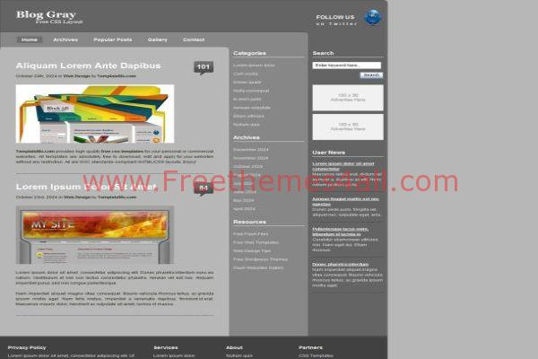 Free Business Gray CSS Website Template Download