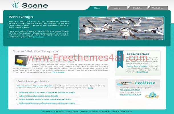 Free CSS Gray Green Blue HTML Website Template