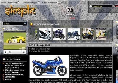 Black Magazine Motorbikes Joomla Template