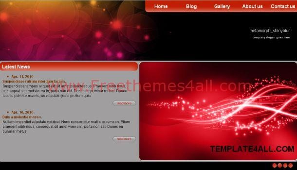 Shinyblur Free Red Jquery CSS Template