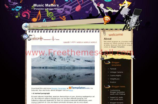 Purple Black Blogger Music Theme