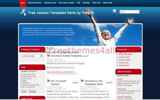 Kids Charity Red Blue Free Joomla Theme Template
