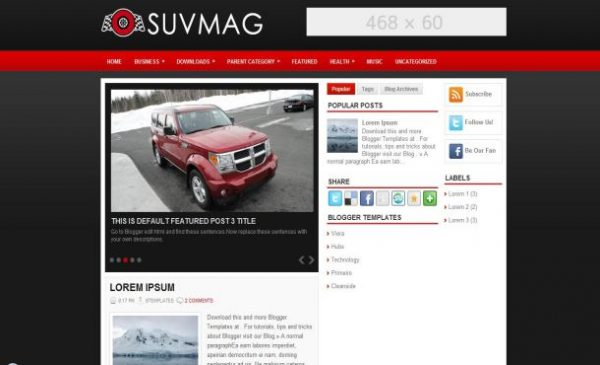 Magazine Red Free Cars Blogger Template