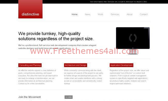 Free Red White Computer CSS Website Template Download