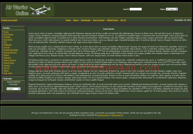 Green Games Php Nuke Theme Template