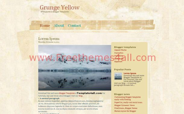 Grunge Vintage Yellow Free Blogger Theme Template