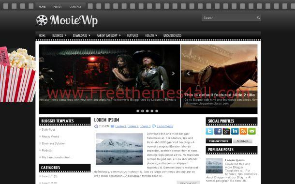 Dark Black Movies Free Blogger Theme