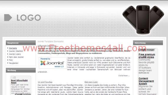 Free Grey Iphone Joomla Template Theme