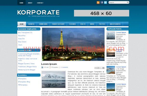 Blue Corporate Blogger Template