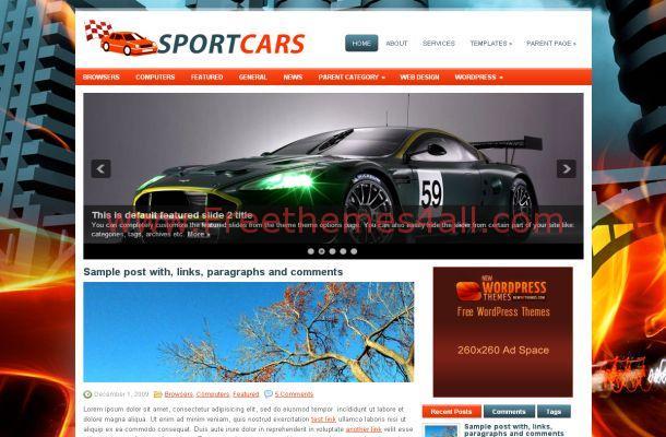 Racing Car WordPress Theme Free Download