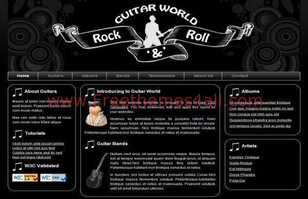 free rock band css template download. Black Bedroom Furniture Sets. Home Design Ideas