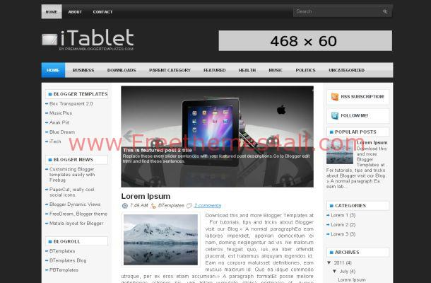 Tablet Desk Blogger Template Layout