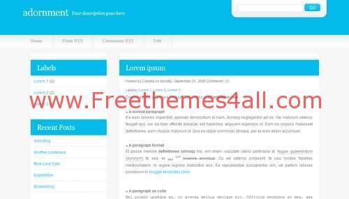 Adornment Blue Web2.0 Blogger Template