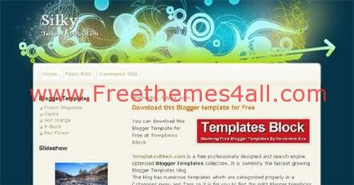 Silky Blue Vector Blogger Template