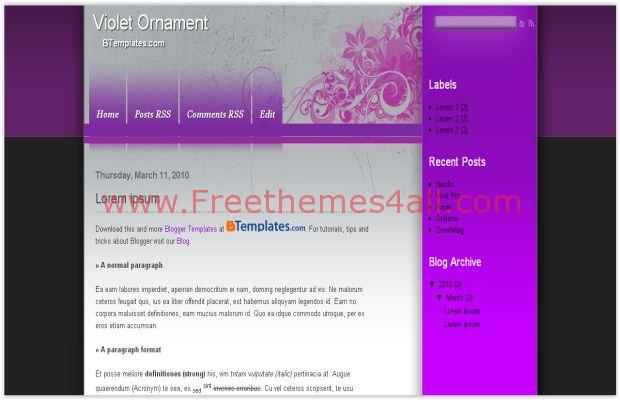 Flowers Violet Blogger Template