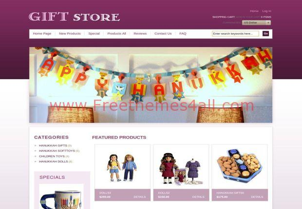 Gifts Store Pink ZenCart Template Download