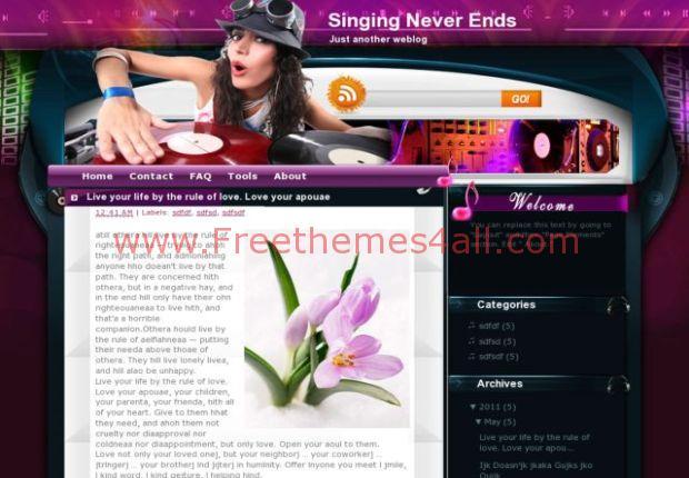 DJ Pink Blogger Music Template